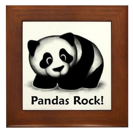 Pandas Rock! Framed Tile