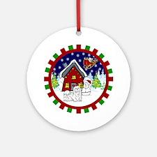 Cute Maltese Christmas Ornament (Round)