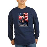 Don't Wait to Volunteer (Front) Long Sleeve Dark T