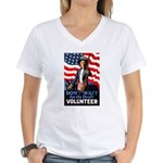 Don't Wait to Volunteer (Front) Women's V-Neck T-S