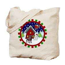 Cute Chocolate Lab Christmas Tote Bag