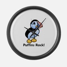 Puffins Rock! Large Wall Clock