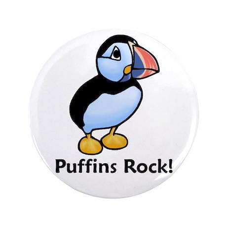 """Puffins Rock! 3.5"""" Button"""