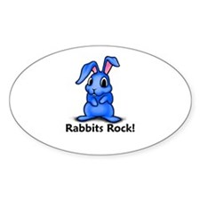 Rabbits Rock! Oval Decal