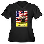 Free Labor Will Win (Front) Women's Plus Size V-Ne