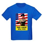 Free Labor Will Win (Front) Kids Dark T-Shirt