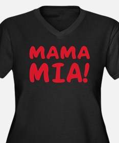 Mama mia Women's Plus Size V-Neck Dark T-Shirt