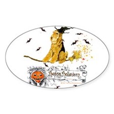 Halloween Airedale Terrier Oval Decal