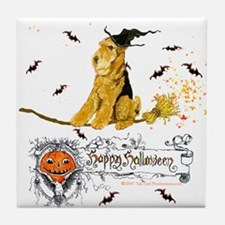 Halloween Airedale Terrier Tile Coaster
