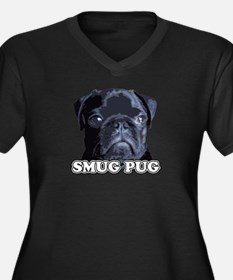Smug Pug! Women's Plus Size V-Neck Dark T-Shirt
