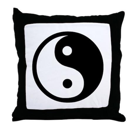 Black and White Yin Yang Bala Throw Pillow
