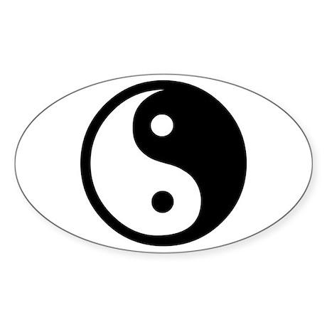 Black and White Yin Yang Bala Oval Sticker