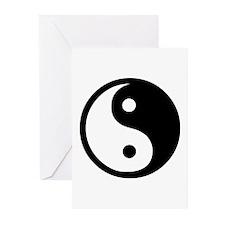 Black and White Yin Yang Bala Greeting Cards (Pk o