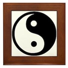 Black and White Yin Yang Bala Framed Tile