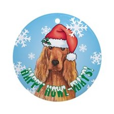 Holiday Irish Setter Ornament (Round)