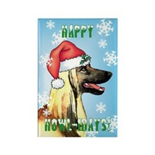 Holiday Afghan Hound Rectangle Magnet