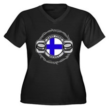 Finland Hockey Women's Plus Size V-Neck Dark T-Shi