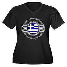 Greece Hockey Women's Plus Size V-Neck Dark T-Shir