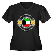 Kuwait Water Polo Women's Plus Size V-Neck Dark T-