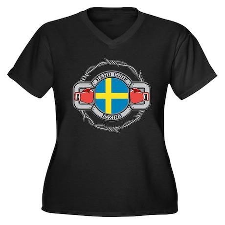 Sweden Boxing Women's Plus Size V-Neck Dark T-Shir