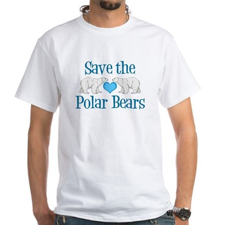 save the polar bears white t shirt save the polar bears