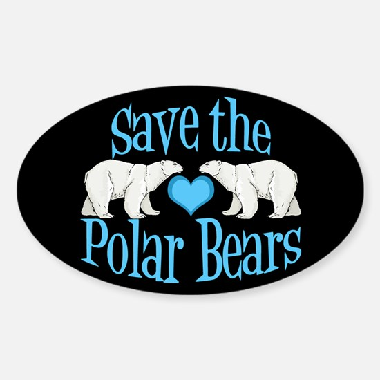 Save the Polar Bears Sticker (Oval)