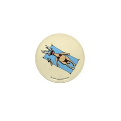Sunbathing Reindeer Mini Button (100 pack)