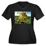Babel Women's Plus Size V-Neck Dark T-Shirt