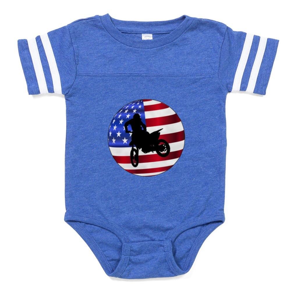 CafePress MOTO AMERICAN Baby Football Bodysuit 322903021