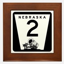 Highway 2, Nebraska Framed Tile