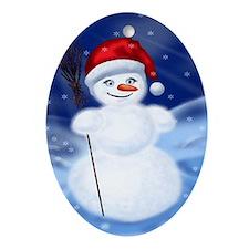 Snow woman Oval Ornament