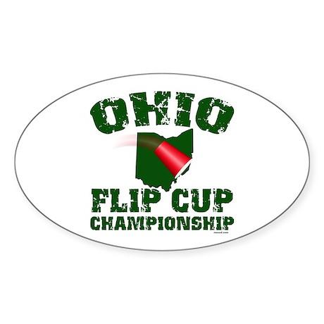 Ohio U. Flip Cup Oval Sticker