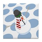 Bliz the Snowman Dotted Tile Coaster