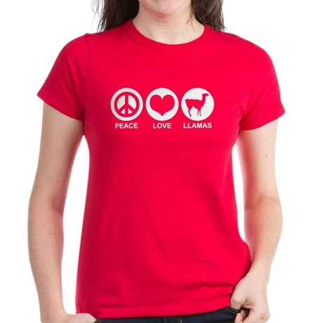 Peace Love Llamas Women's Dark T-Shirt