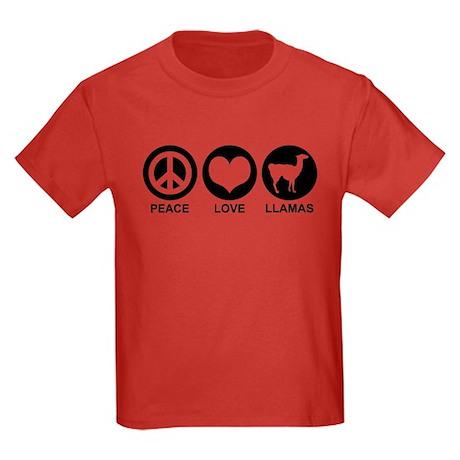 Peace Love Llamas Kids Dark T-Shirt
