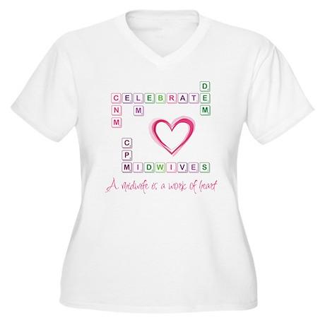Celebrate Midwives Women's Plus Size V-Neck T-Shir