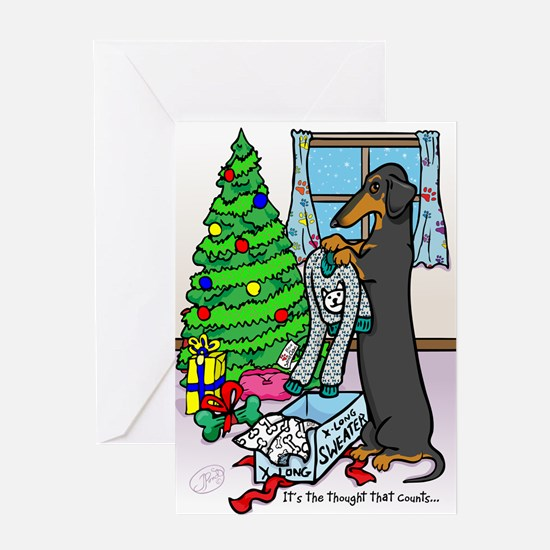 Black Tan Dachshund Funny Christmas Card