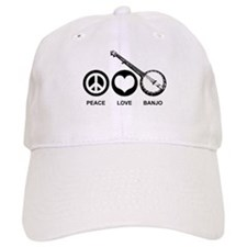 Peace Love Banjo Baseball Cap