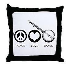 Peace Love Banjo Throw Pillow