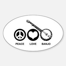Peace Love Banjo Oval Decal