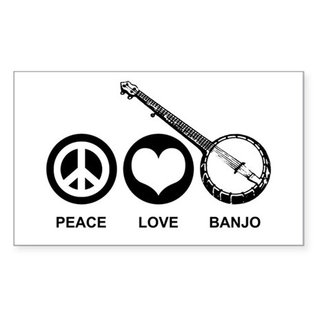 Peace Love Banjo Rectangle Sticker