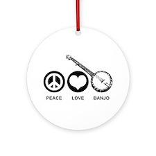 Peace Love Banjo Ornament (Round)