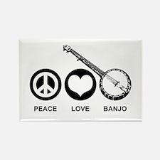 Peace Love Banjo Rectangle Magnet