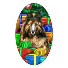 Belgian Tervuren Christmas Oval Decal
