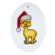Christmas Alpaca Oval Ornament