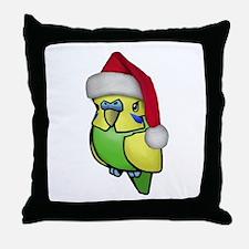 Christmas Budgie Throw Pillow