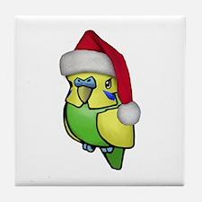 Christmas Budgie Tile Coaster