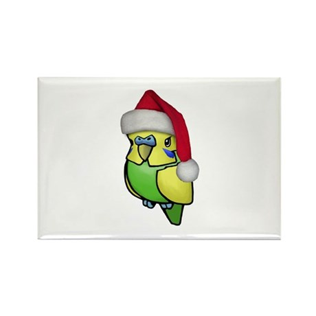 Christmas Budgie Rectangle Magnet