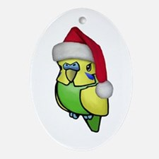 Christmas Budgie Oval Ornament