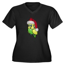 Christmas Budgie Women's Plus Size V-Neck Dark T-S